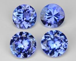 2.04 Cts 4pcs Round 5.00 mm Violet Blue Color Natural Tanzanite Gemstone