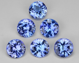 2.22  Cts 6pcs Round  4.50x3 mm  Violet Blue Color Natural Tanzanite Gemsto