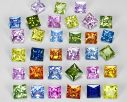 4.59 Cts 33pcs Princess Cut 2.50 x 2.50 mm  Fancy color Natural Sapphire Lo
