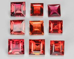 3.50 Cts 9 pcs Princess Cut 4x4mm Orange Red Sapphire Loose Gemstones