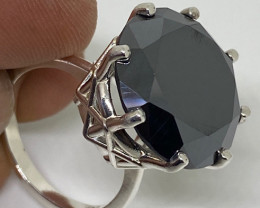 (3) Certified Dazzling 16.50 cts Natural Fancy Black Diamond Ring