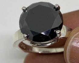 (6) Certified Dazzling 7.15ct Natural Black Diamond Ring