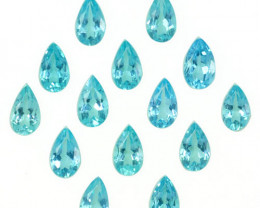 3.14 Cts Natural Apatite - Paraiba Blue Green 5x3mm Pear Cut 14Pcs Brazil