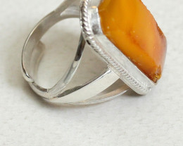 Natural Baltic amber ring in a Silver 925 frame