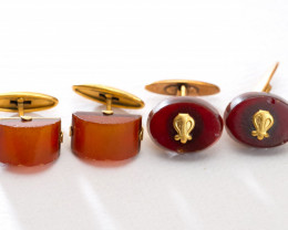2 pairs Natural Baltic amber cufflinks gold-plated with a stamp