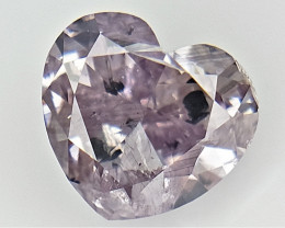 Extremely Rare Cut + Color , Pink overtone Diamond , Heart Cut , 0.52 cts