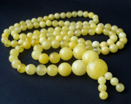 435 ct Huge Natural Baltic amber rosary / mala white milk color