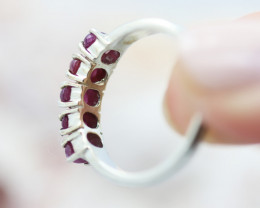 Cute 5pc  Cluster Ruby in silver Ring size 7 GTJA 1120