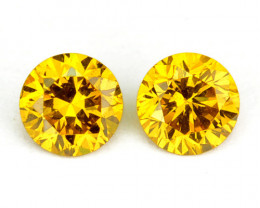 ~SPARKLING~ 0.04 Cts Natural Golden Diamond Round 2Pcs Africa