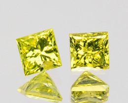 0.08 Cts Natural Diamond Golden Yellow 2Pcs Princess Cut Africa