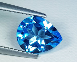 2.90 ct Top Quality Gem Stunning Pear Cut Swiss Blue Topaz