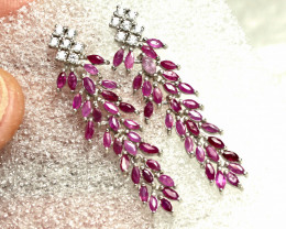 32.75 Tcw. Rubies, CZ, Sterling Silver, White Gold Plate Earrings