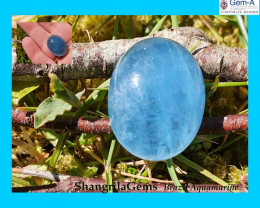 20mm 22ct Aquamarine cabochon oval deep sky blue