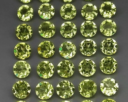 6.30 Ct.  3.5 mm  Natural Green Peridot  Cambodia - 35 ps