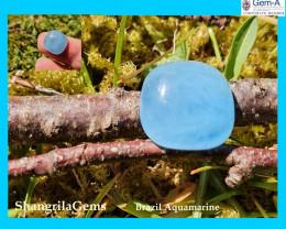 12.5mm 6.4ct Aquamarine cabochon square cushion deep sky blue
