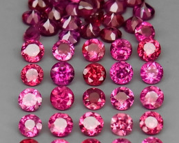 7.75 ct. 3.0 mm Natural Purple  Rhodolite Garnet Africa - 50 Pcs