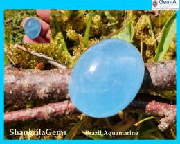 17mm 13.5ct Aquamarine cabochon oval deep sky blue