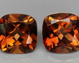 10.32 ct. PairTop Quality 100% Natural Topaz Orangey Brown Brazil
