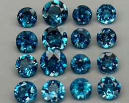 10.22 ct .   Natural London Blue Topaz  Brazil - 16 pcs