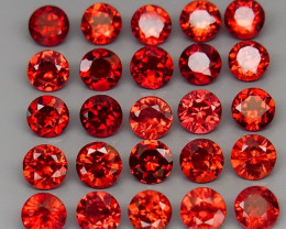 9.00 ct. 4.0 mm Natural Hot Red Rhodolite Garnet Africa - 25 Pcs