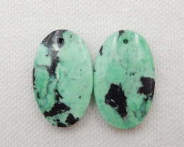 31cts Natural Turquoise ,Handmade Gemstone ,Green Turquoise Earrings ,Lucky