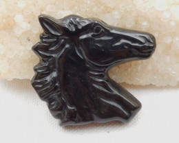 New Design,Horse Head Pendant,106ct Natural Obsidian Carved Horse Head Neck