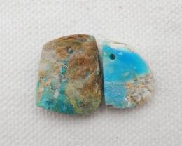 15.5cts blue opal  Earrings Square earrings beads, stone for earrings makin
