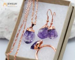 Amethyst jewelry  5 pc set Ring size 10