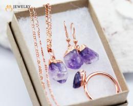 Amethyst jewelry  5 pc set Ring size 9