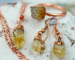 Beautiful Citrine  jewelry  5 pc set Ring size 7