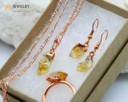 Beautiful Citrine  jewelry  5 pc set Ring size 9