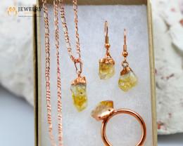 Beautiful Citrine  jewelry  5 pc set Ring size 10