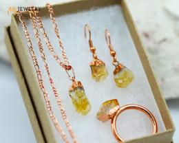 Beautiful Citrine  jewelry  5 pc set Ring size 11