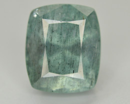 Rare 12.65 Carat Natural Black Needles Rutile in Greenish Blue Aquamarine
