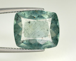Rare 6.35 Carat Natural Black Needles Rutile in Greenish Blue Aquamarine