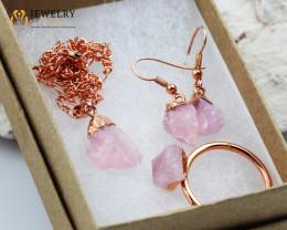 Beautiful Lovers rose quartz   jewelry  5 pc set Ring size 7.5
