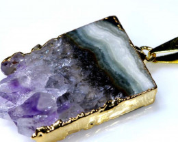 38 CTS AMETHYST CRYSTAL GOLD PLATED PENDANT SG-3584