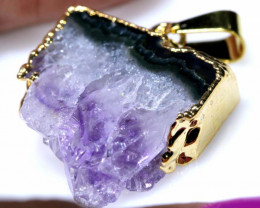 26 CTS AMETHYST CRYSTAL GOLD PLATED PENDANT SG-3588