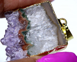 34 CTS AMETHYST CRYSTAL GOLD PLATED PENDANT SG-3591