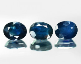 1.13 Cts 3 Pcs  Rare Natural Fancy Blue Sapphire Loose Gemstone