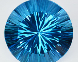 ~STUNNING~ 36.30 Cts Natural Sky Blue Topaz 20.5mm Round Concave Brazil