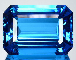 ~SUPREME GRADE~ 49.20 Cts Natural Topaz Super Swiss Blue Octagon Brazil