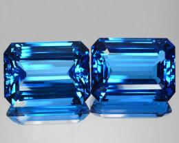 ~MARVELLOUS~ 98.00 Cts Natural Topaz Super Swiss Blue Octagon PAIR Brazil