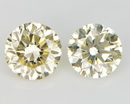 Yellow Natural Diamonds , Diamonds For Jewelry , 2 pcs/0.27 cts