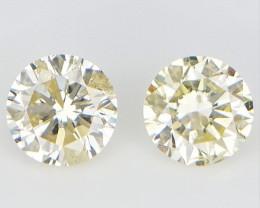 2/0.18 cts ,  Light Color Diamonds  , Yellow Diamond 2 pcs