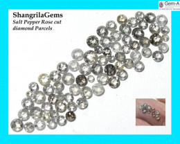 1ct parcel 2mm to 3mm Salt Pepper Diamonds Rose cut mixed sizes from 2 to 3