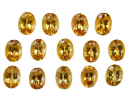 ~UNTREATED~ 21.95 Cts Natural Imperial Topaz 8x6mm Oval Cut 14Pcs Brazil