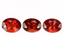 ~BEAUTIFUL~ 3.28 Cts Natural Red Sunstone Andesine 8x6mm Oval Cut 3Pcs Russ