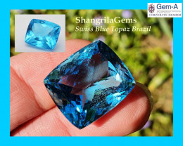 20mm 37ct SWISS BLUE Topaz with VIDEO Deep blue Paraiba like tone 20 by 17