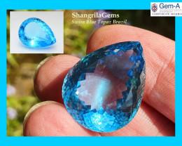 24mm 41ct SWISS BLUE Topaz drop pear shape 24 by 18 by 12mm